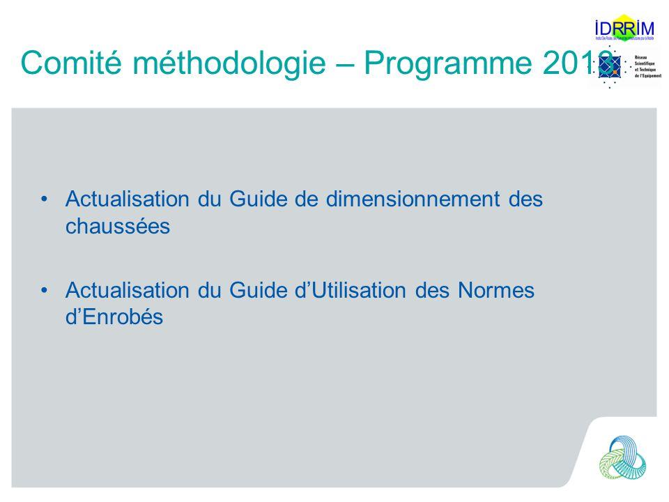 Comité méthodologie – Programme 2013 Actualisation du Guide de dimensionnement des chaussées Actualisation du Guide dUtilisation des Normes dEnrobés