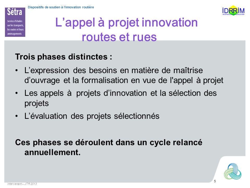 Dispositifs de soutien à linnovation routière Lappel à projet innovation routes et rues Trois phases distinctes : Lexpression des besoins en matière d