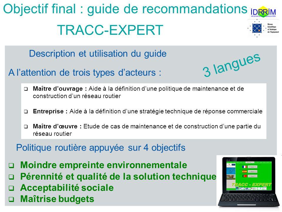 Description et utilisation du guide Techniques Routières Adaptées au changement Climatique TRACC-EXPERT Objectif final : guide de recommandations Maît