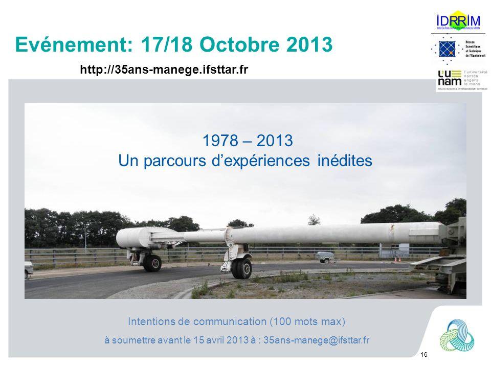 Evénement: 17/18 Octobre 2013 16 1978 – 2013 Un parcours dexpériences inédites http://35ans-manege.ifsttar.fr Intentions de communication (100 mots max) à soumettre avant le 15 avril 2013 à : 35ans-manege@ifsttar.fr