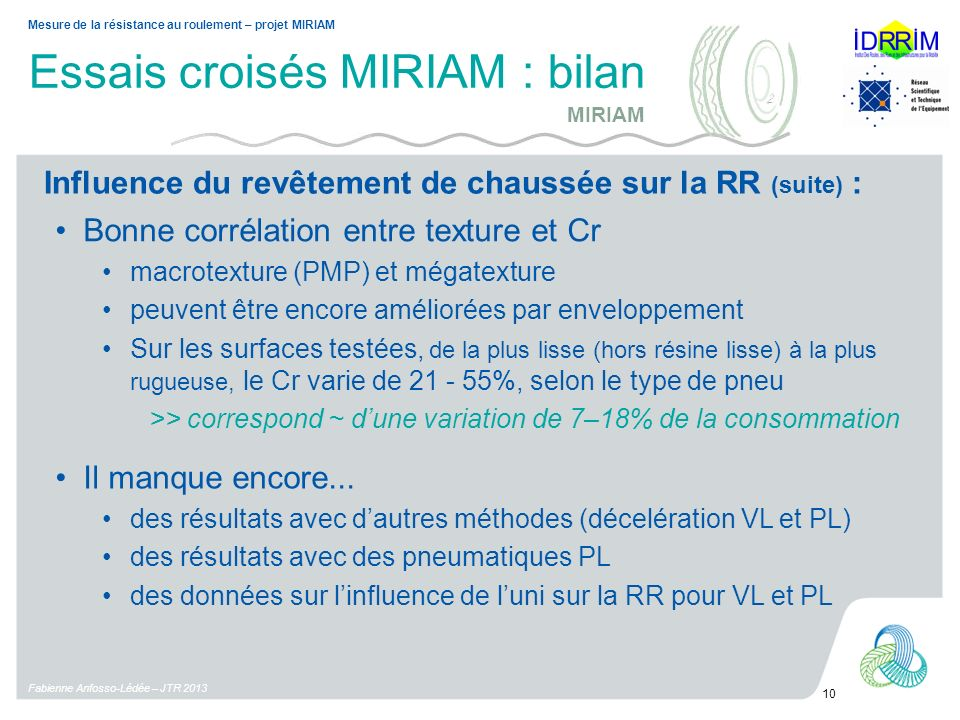 Essais croisés MIRIAM : bilan Fabienne Anfosso-Lédée – JTR 2013 10 Mesure de la résistance au roulement – projet MIRIAM Bonne corrélation entre textur