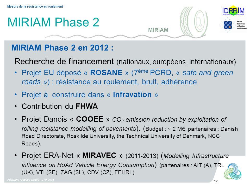 MIRIAM Phase 2 Fabienne Anfosso-Lédée – JTR 2013 12 Mesure de la résistance au roulement MIRIAM Phase 2 en 2012 : MIRIAM Recherche de financement (nat