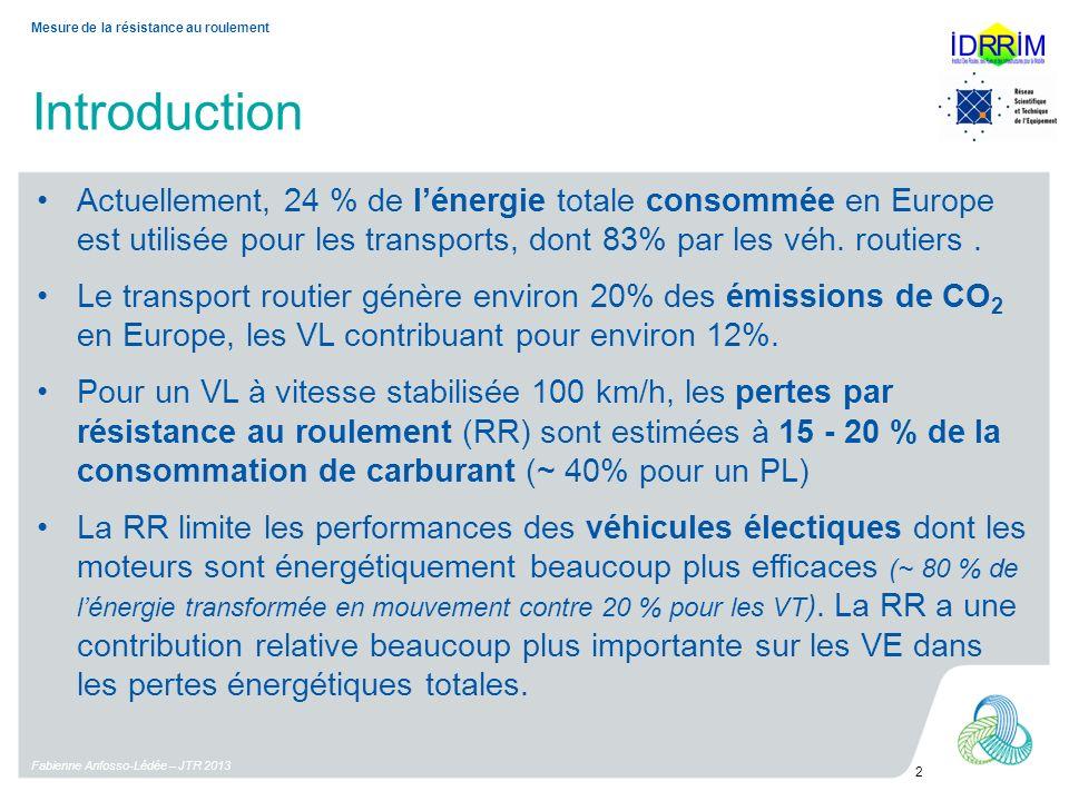 Introduction Fabienne Anfosso-Lédée – JTR 2013 2 Mesure de la résistance au roulement Actuellement, 24 % de lénergie totale consommée en Europe est ut