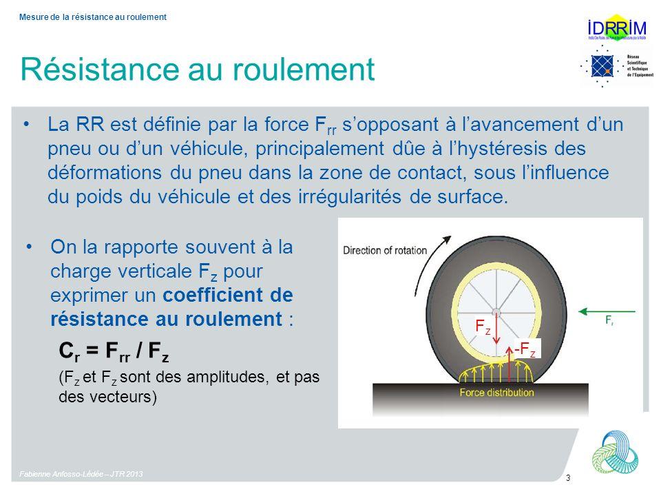 Résistance au roulement Fabienne Anfosso-Lédée – JTR 2013 3 Mesure de la résistance au roulement La RR est définie par la force F rr sopposant à lavan