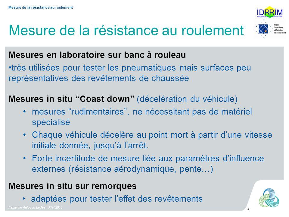Mesure de la résistance au roulement Fabienne Anfosso-Lédée – JTR 2013 4 Mesure de la résistance au roulement Mesures in situ Coast down (décelération