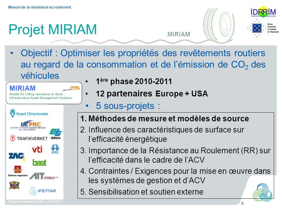 Projet MIRIAM Fabienne Anfosso-Lédée – JTR 2013 6 Mesure de la résistance au roulement Objectif : Optimiser les propriétés des revêtements routiers au