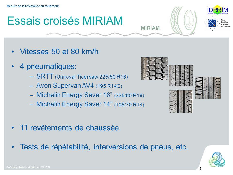 Essais croisés MIRIAM Vitesses 50 et 80 km/h Fabienne Anfosso-Lédée – JTR 2012 8 Mesure de la résistance au roulement 4 pneumatiques: –SRTT (Uniroyal