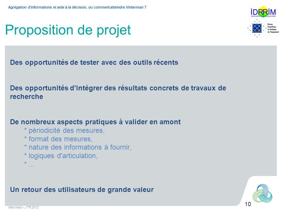 Marchetti – JTR 2013 10 Agrégation d informations et aide à la décision, ou comment atteindre Vinterman .