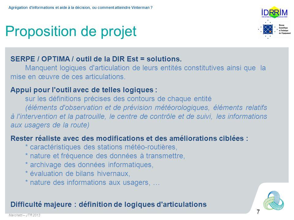 Marchetti – JTR 2013 8 Agrégation d informations et aide à la décision, ou comment atteindre Vinterman .