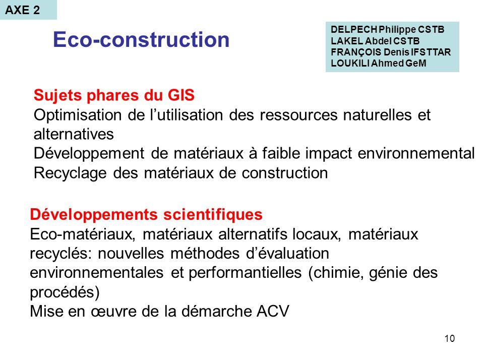 10 Eco-construction Développements scientifiques Eco-matériaux, matériaux alternatifs locaux, matériaux recyclés: nouvelles méthodes dévaluation envir