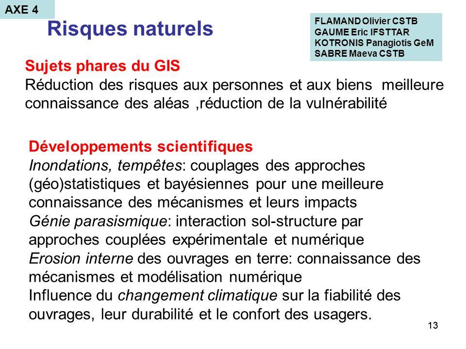 13 Risques naturels Développements scientifiques Inondations, tempêtes: couplages des approches (géo)statistiques et bayésiennes pour une meilleure co