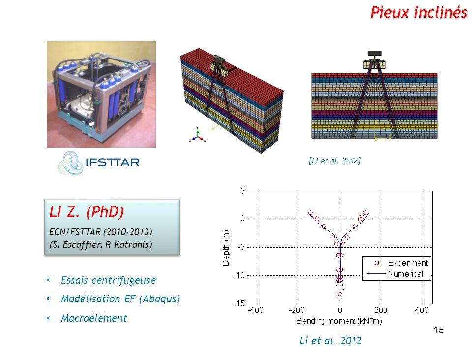 15 Pieux inclinés [Li et al. 2012] Li et al. 2012 LI Z. (PhD) ECN/FSTTAR (2010-2013) (S. Escoffier, P. Kotronis) LI Z. (PhD) ECN/FSTTAR (2010-2013) (S