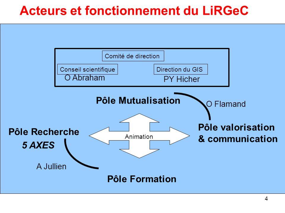 4 Pôle Recherche Pôle Mutualisation Acteurs et fonctionnement du LiRGeC Direction du GIS Comité de direction Conseil scientifique Pôle valorisation &