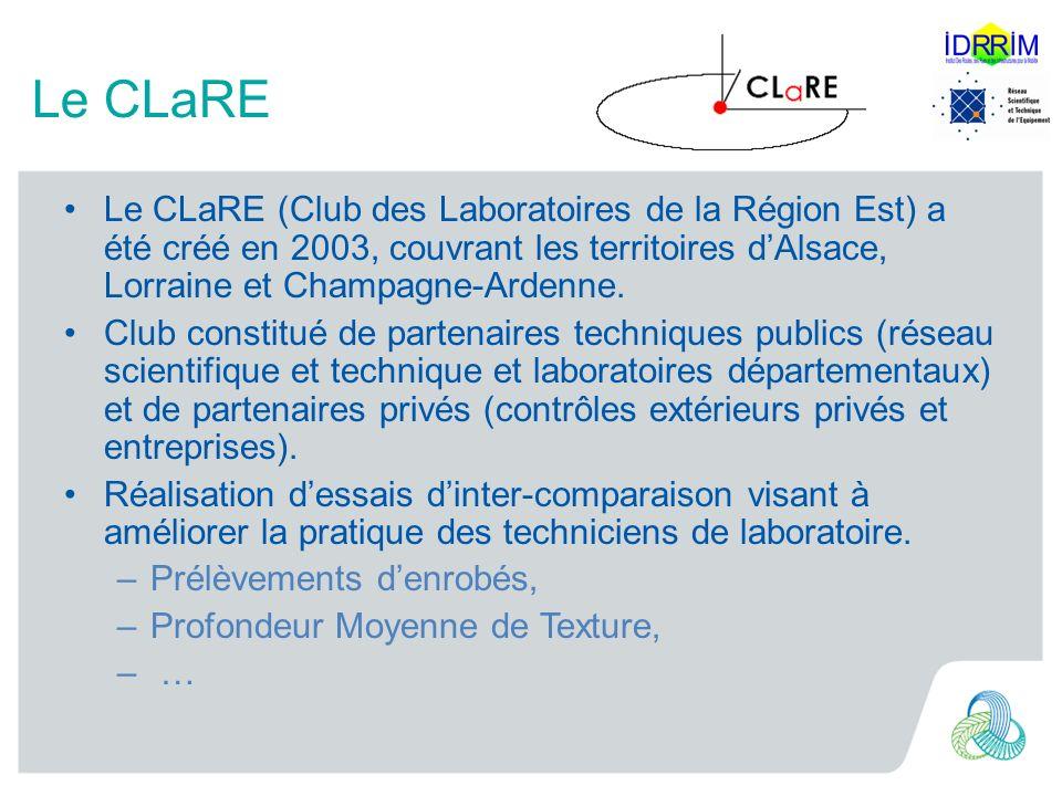 Le CLaRE Le CLaRE (Club des Laboratoires de la Région Est) a été créé en 2003, couvrant les territoires dAlsace, Lorraine et Champagne-Ardenne. Club c