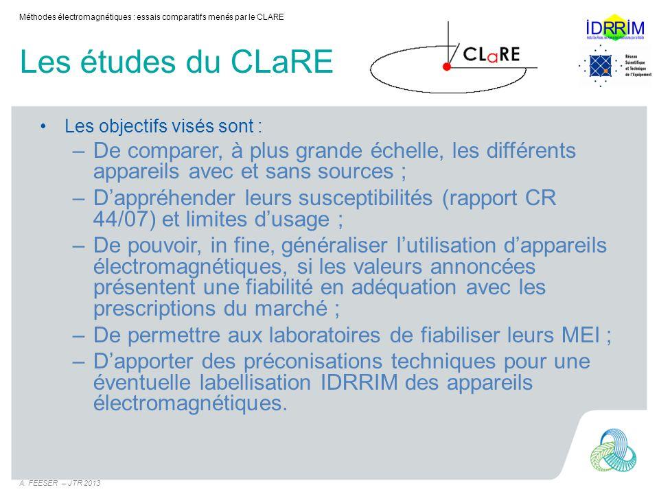 Les études du CLaRE Pour ce faire, les études menées sont réalisées en deux phases : –Phase « Laboratoire » (rapport de mars 2012) Objectif : caractériser lensemble des appareils –Sans problème dhumidité ; –Avec des gammes de densité différentes.