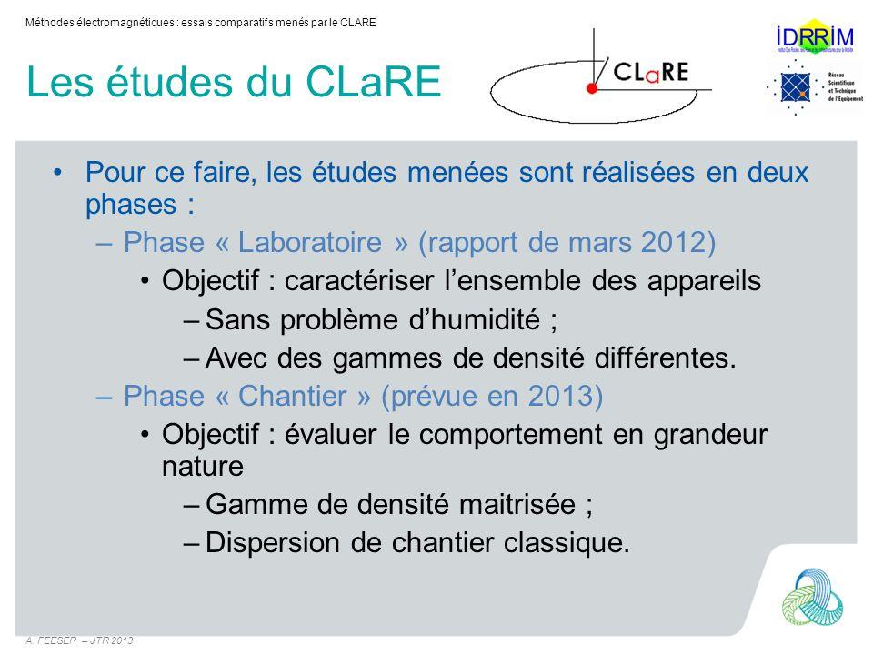 Les études du CLaRE Pour ce faire, les études menées sont réalisées en deux phases : –Phase « Laboratoire » (rapport de mars 2012) Objectif : caractér