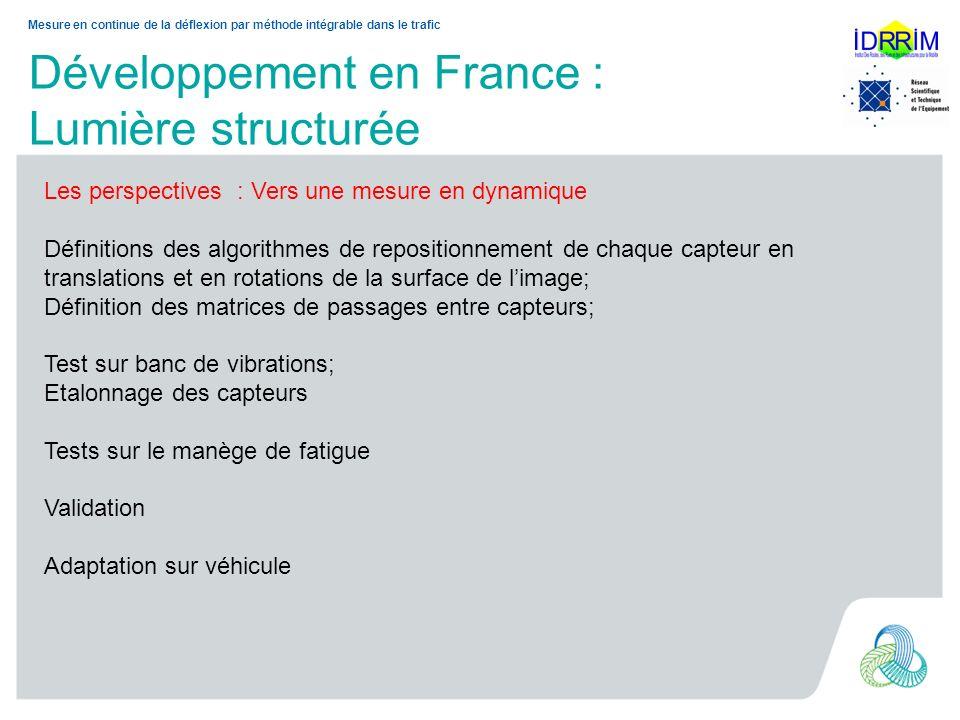 Développement en France : Lumière structurée Mesure en continue de la déflexion par méthode intégrable dans le trafic Les perspectives : Vers une mesu