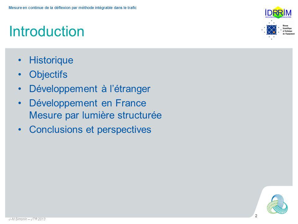 Introduction Historique Objectifs Développement à létranger Développement en France Mesure par lumière structurée Conclusions et perspectives J-M Simo