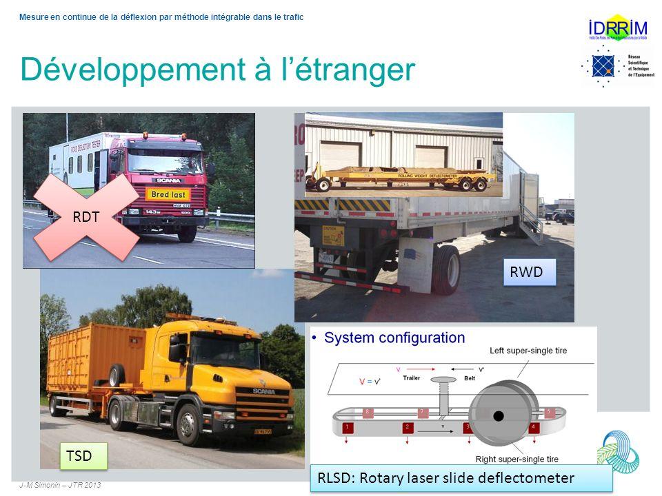 Développement à létranger J-M Simonin – JTR 2013 5 Mesure en continue de la déflexion par méthode intégrable dans le trafic RDT RLSD: Rotary laser sli