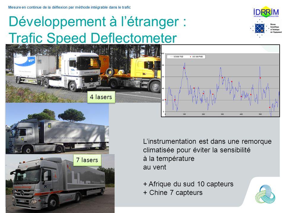 Développement à létranger : Trafic Speed Deflectometer Mesure en continue de la déflexion par méthode intégrable dans le trafic 4 lasers 7 lasers Lins