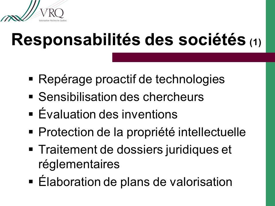 Responsabilités des sociétés ( 1 ) Repérage proactif de technologies Sensibilisation des chercheurs Évaluation des inventions Protection de la propriété intellectuelle Traitement de dossiers juridiques et réglementaires Élaboration de plans de valorisation