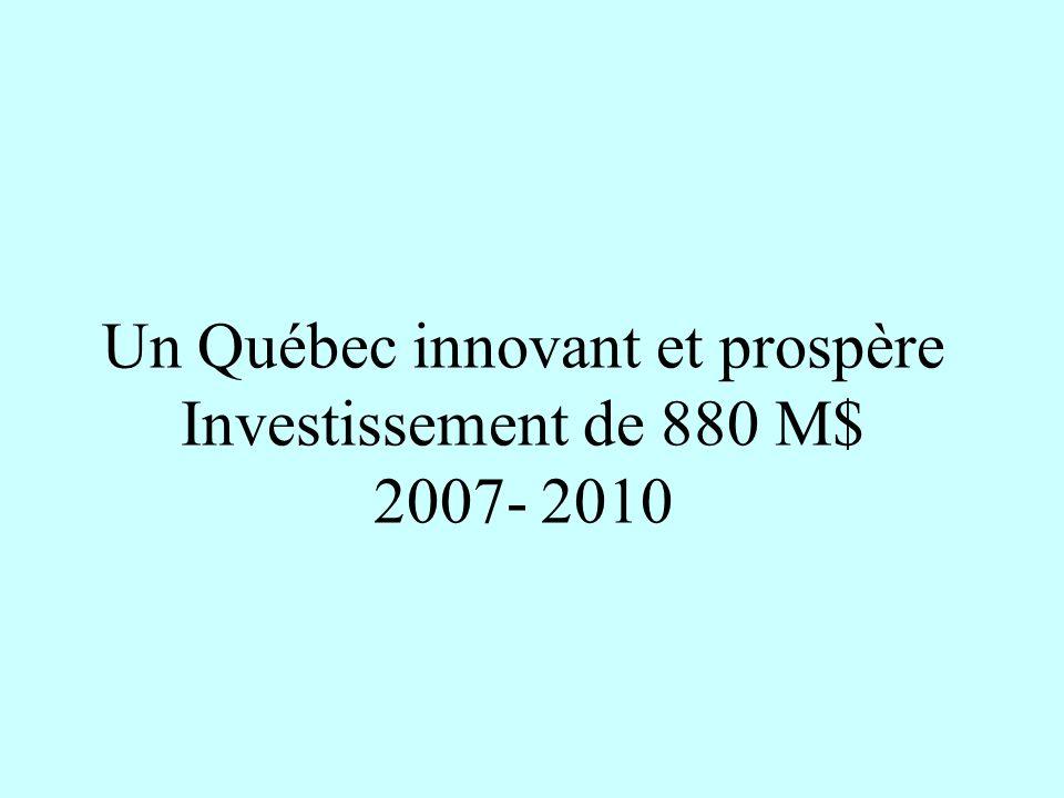 Un Québec innovant et prospère Investissement de 880 M$ 2007- 2010