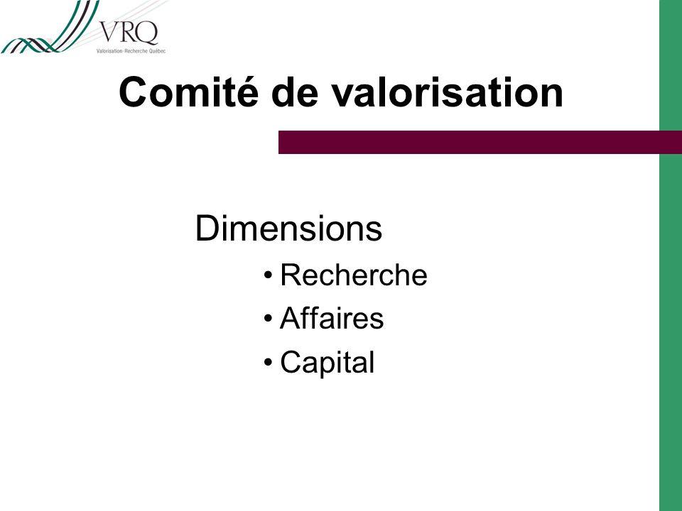 Comité de valorisation Dimensions Recherche Affaires Capital