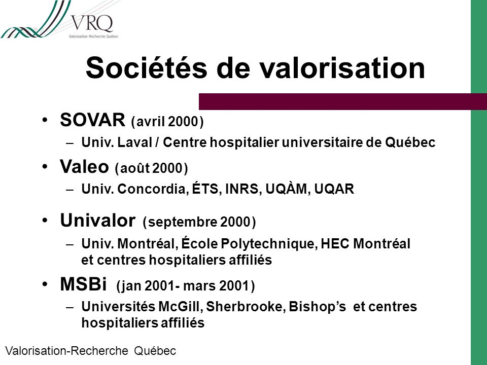 Sociétés de valorisation Valorisation-Recherche Québec SOVAR ( avril 2000 ) –Univ.