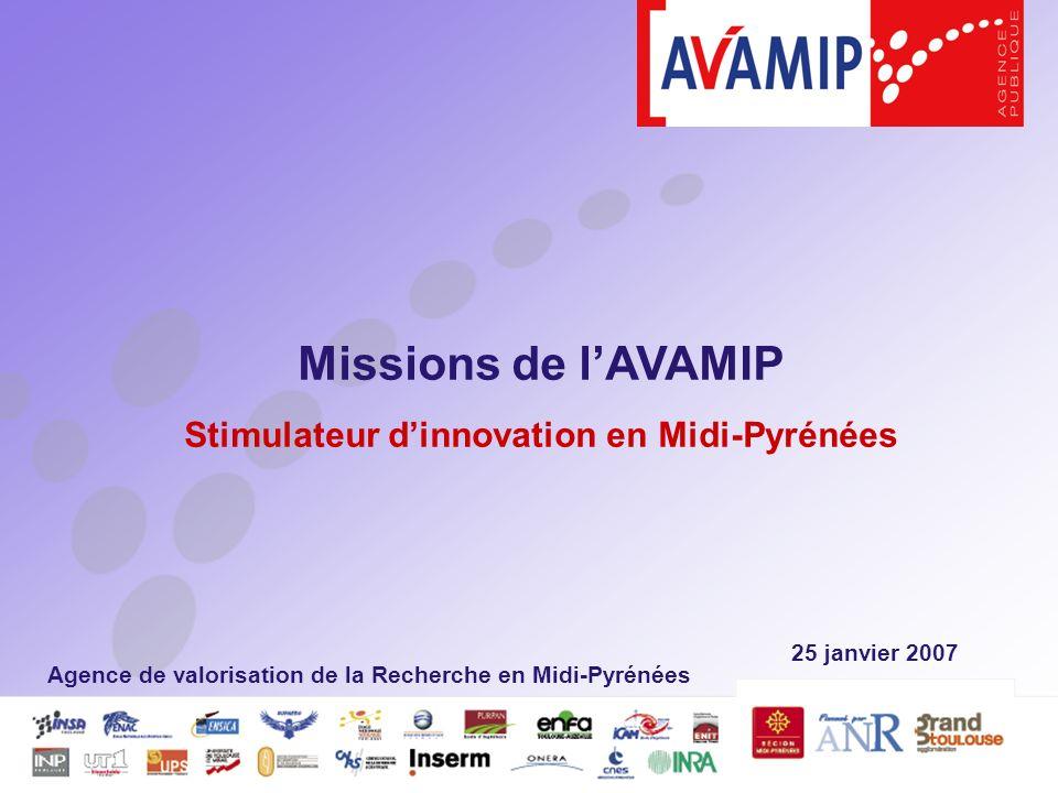 25 janvier 2007 Missions de lAVAMIP Stimulateur dinnovation en Midi-Pyrénées Agence de valorisation de la Recherche en Midi-Pyrénées