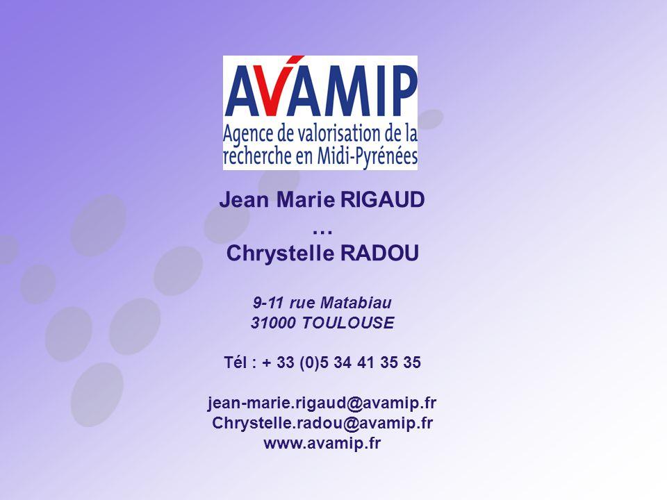 Jean Marie RIGAUD … Chrystelle RADOU 9-11 rue Matabiau 31000 TOULOUSE Tél : + 33 (0)5 34 41 35 35 jean-marie.rigaud@avamip.fr Chrystelle.radou@avamip.