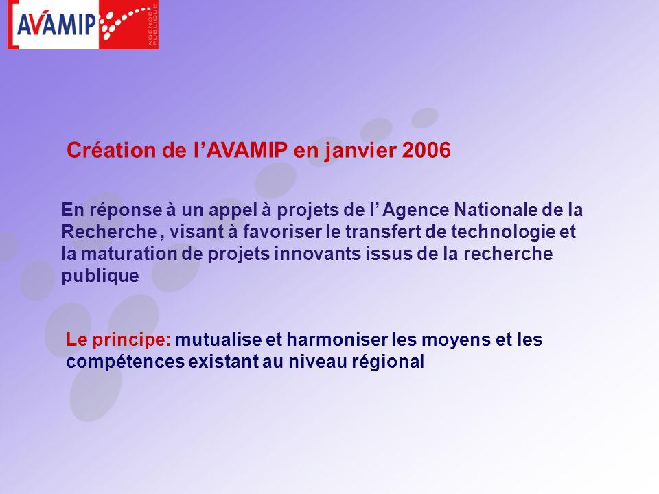 Le principe: mutualise et harmoniser les moyens et les compétences existant au niveau régional Création de lAVAMIP en janvier 2006 En réponse à un appel à projets de l Agence Nationale de la Recherche, visant à favoriser le transfert de technologie et la maturation de projets innovants issus de la recherche publique