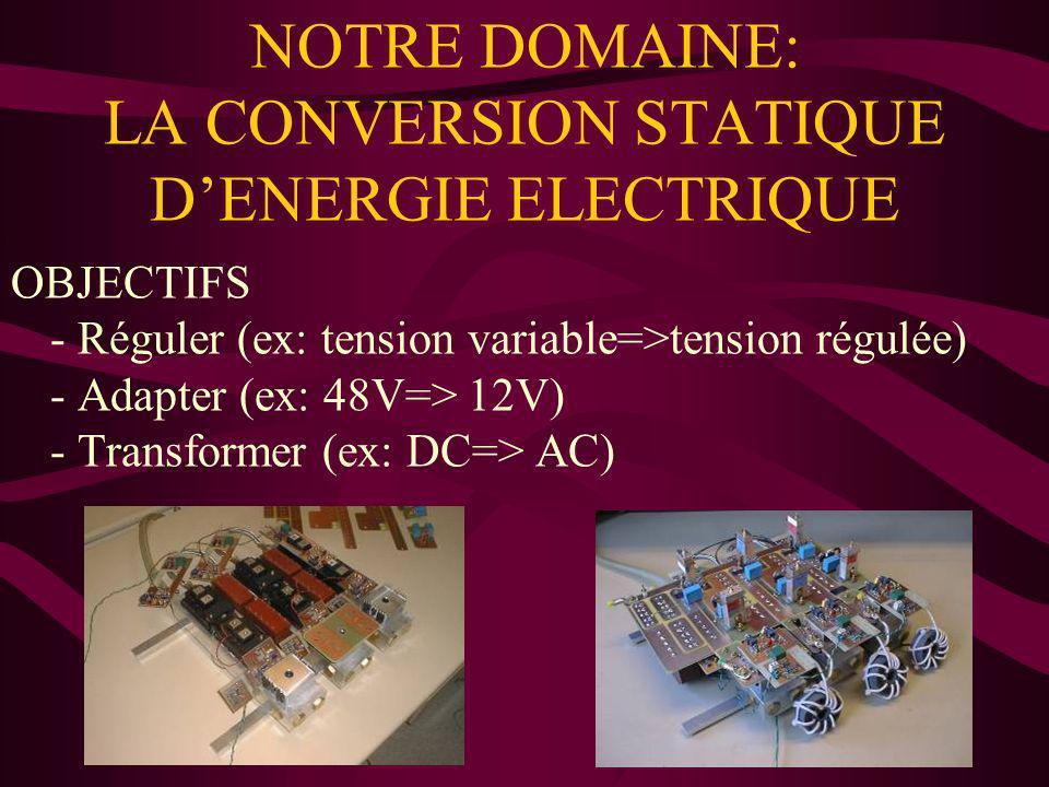 NOTRE DOMAINE: LA CONVERSION STATIQUE DENERGIE ELECTRIQUE OBJECTIFS - Réguler (ex: tension variable=>tension régulée) - Adapter (ex: 48V=> 12V) - Tran