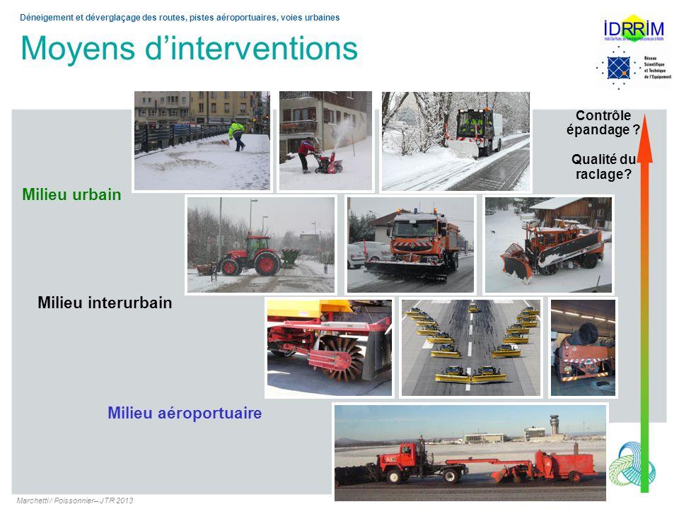 Moyens dinterventions Marchetti / Poissonnier– JTR 2013 Déneigement et déverglaçage des routes, pistes aéroportuaires, voies urbaines Milieu interurba