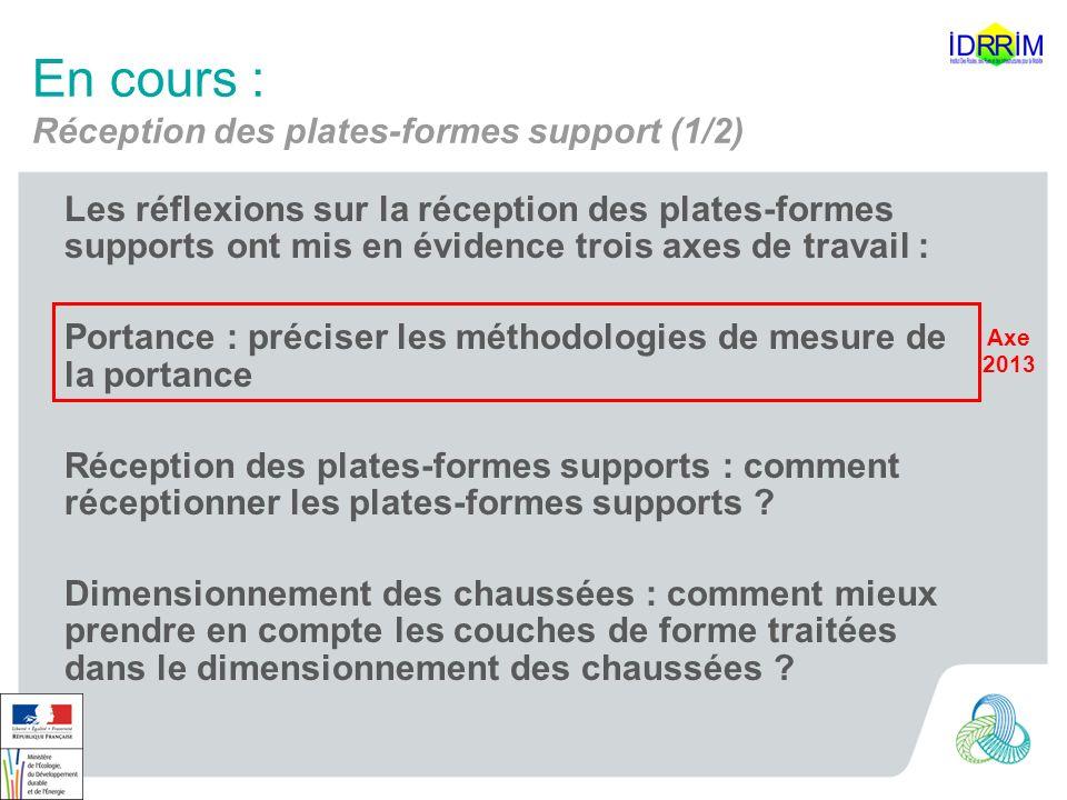 En cours : Réception des plates-formes support (1/2) Les réflexions sur la réception des plates-formes supports ont mis en évidence trois axes de trav