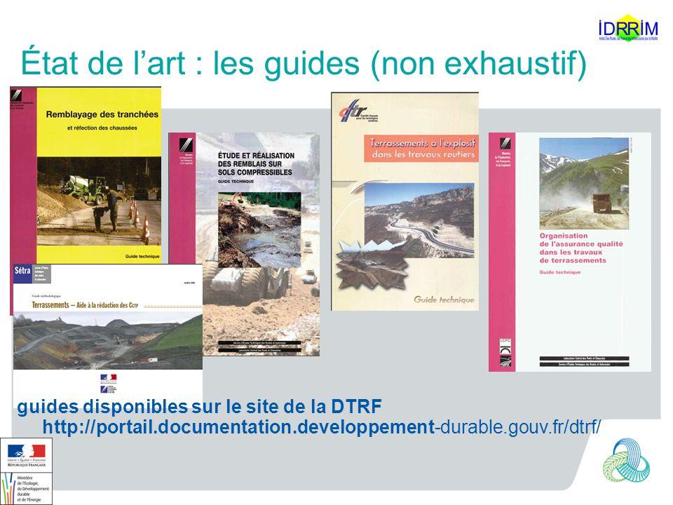 État de lart : les guides (non exhaustif) guides disponibles sur le site de la DTRF http://portail.documentation.developpement-durable.gouv.fr/dtrf/