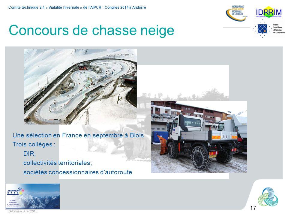 17 Comité technique 2.4 « Viabilité hivernale » de lAIPCR - Congrès 2014 à Andorre Giloppé – JTR 2013 Concours de chasse neige Une sélection en France