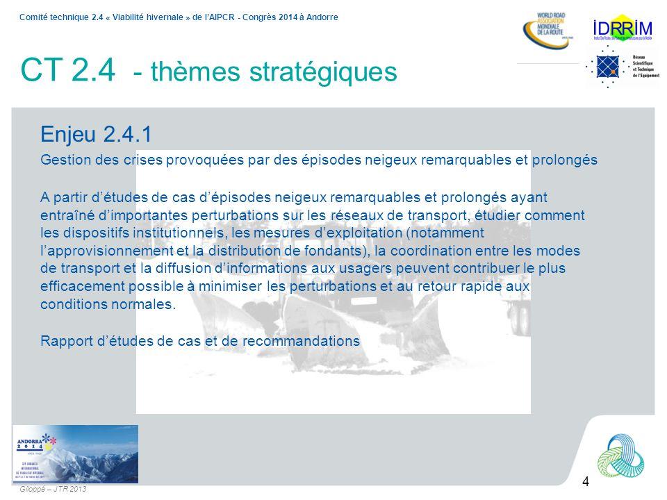 4 Comité technique 2.4 « Viabilité hivernale » de lAIPCR - Congrès 2014 à Andorre Giloppé – JTR 2013 CT 2.4 - thèmes stratégiques Enjeu 2.4.1 Gestion