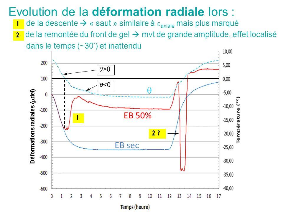 Déformations radiales ( def) <0 >0 EB sec EB 50% 1 2 ? de la descente « saut » similaire à axiale mais plus marqué de la remontée du front de gel mvt