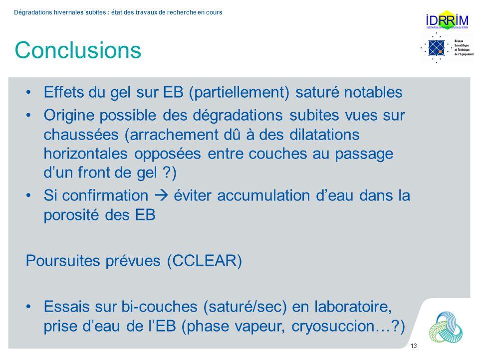 Conclusions Dégradations hivernales subites : état des travaux de recherche en cours 13 Effets du gel sur EB (partiellement) saturé notables Origine p