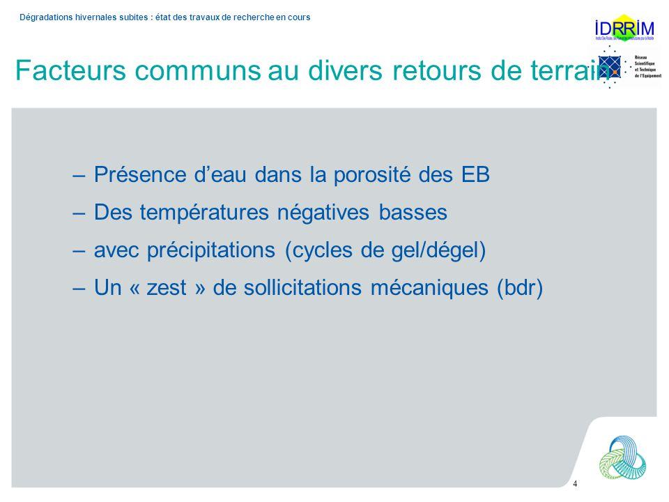 Facteurs communs au divers retours de terrain –Présence deau dans la porosité des EB –Des températures négatives basses –avec précipitations (cycles d