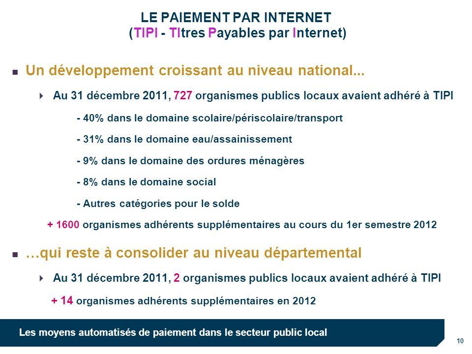 10 Les moyens automatisés de paiement dans le secteur public local LE PAIEMENT PAR INTERNET (TIPI - TItres Payables par Internet) Un développement croissant au niveau national...