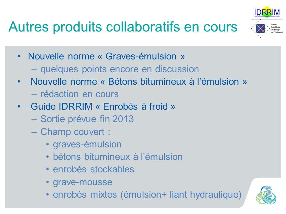 Autres produits collaboratifs en cours Nouvelle norme « Graves-émulsion » –quelques points encore en discussion Nouvelle norme « Bétons bitumineux à l