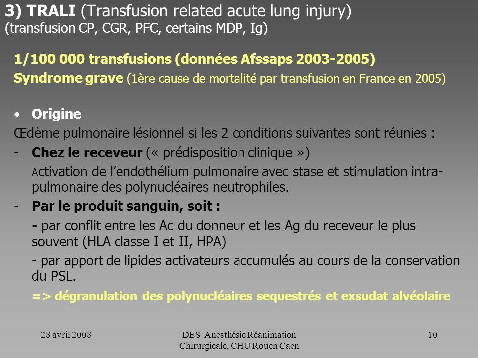 28 avril 2008DES Anesthésie Réanimation Chirurgicale, CHU Rouen Caen 9 2) Réaction fébrile non hémolytique (transfusion CGR ou CP) Origine multifactor