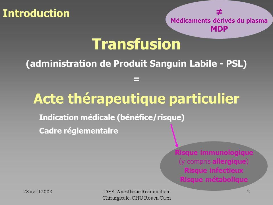 28 avril 2008DES Anesthésie Réanimation Chirurgicale, CHU Rouen Caen 1 Risques de la transfusion en 2008 Indications des PSL en chirurgie : recommanda