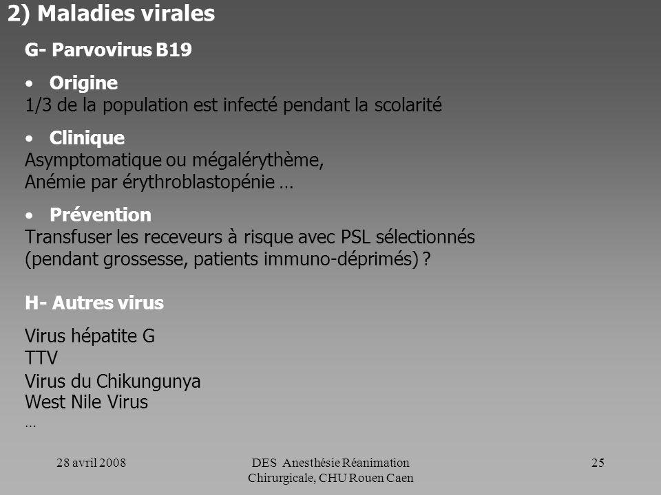 28 avril 2008DES Anesthésie Réanimation Chirurgicale, CHU Rouen Caen 24 2) Maladies virales F- HTLV I et II (Human T Lymphocytotropic Virus) Origine D