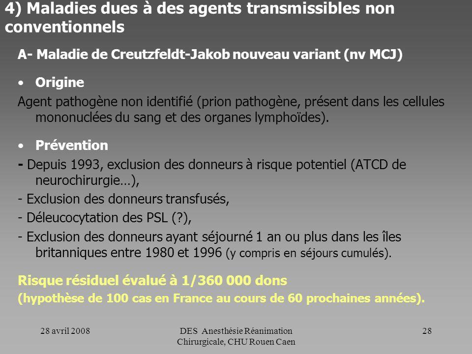 28 avril 2008DES Anesthésie Réanimation Chirurgicale, CHU Rouen Caen 27 3) Maladies parasitaires B- Autres maladies parasitaires - Maladie de Chagas -