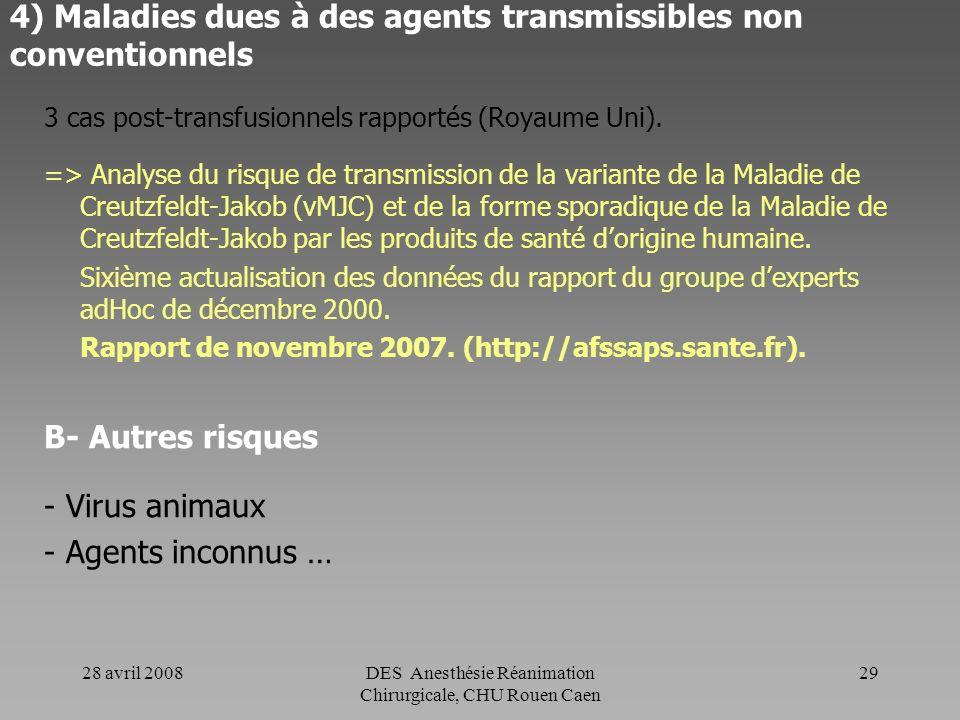 28 avril 2008DES Anesthésie Réanimation Chirurgicale, CHU Rouen Caen 28 4) Maladies dues à des agents transmissibles non conventionnels A- Maladie de