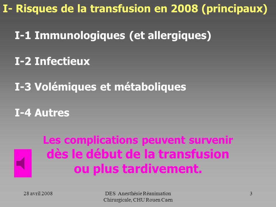 28 avril 2008DES Anesthésie Réanimation Chirurgicale, CHU Rouen Caen 2 Introduction Transfusion (administration de Produit Sanguin Labile - PSL) = Act