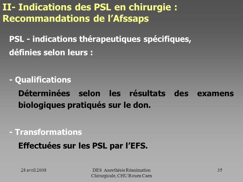 28 avril 2008DES Anesthésie Réanimation Chirurgicale, CHU Rouen Caen 34 II- Indications des PSL en chirurgie : Recommandations de lAfssaps Principaux