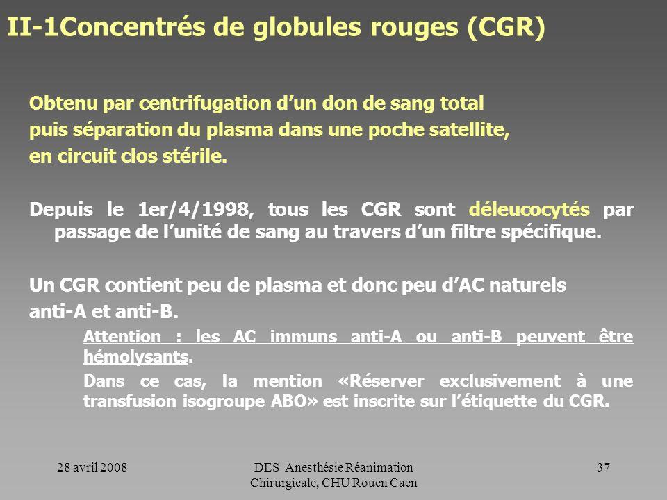 28 avril 2008DES Anesthésie Réanimation Chirurgicale, CHU Rouen Caen 36 Déleucocytation Réduit le risque infectieux (principalement viral) Réduit le r